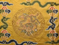 Lot 489-Chinese metal thread woven yellow silk cover,...