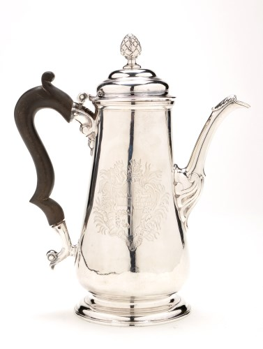 Lot 628-A George II coffee pot, by Isaac Cookson,...