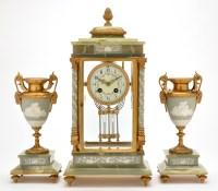 Lot 1093-An onyx, brass and Jasper ware three-piece...