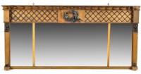 Lot 1138-A Regency triptych breakfront overmantel mirror,...
