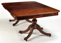 Lot 1197-A Regency mahogany twin stalk dining table, each...