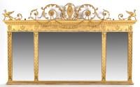 Lot 1231-A Regency style triptych overmantel mirror, the...
