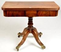 Lot 1258-A Regency style mahogany turnover swivel top tea...