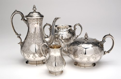 Lot 497-A Victorian four-piece tea and coffee service,...