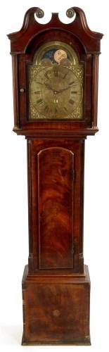 Lot 1122 - A mahogany longcase clock, the brass roman...