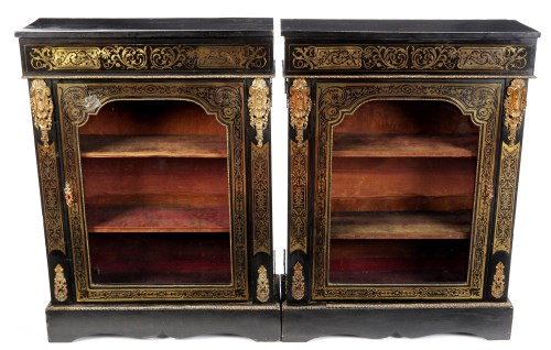 Lot 1203-A pair of French ebonised and boulle decorated...