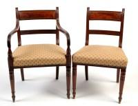Lot 1239-A set of six single and one arm Regency mahogany...