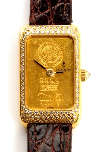 Lot 783-A Corum 18ct. gold and diamond set cased...