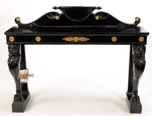 Lot 1313-A Regency style black painted sideboard with...