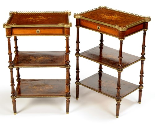 Lot 1340-A pair of French burr walnut and stained beech...