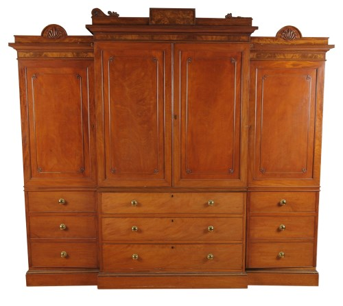 Lot 1361-A George IV large mahogany breakfront wardrobe,...