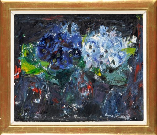 Lot 257-Anne Redpath, OBE, RA, RSA ''CINERARIAS'' signed; ...