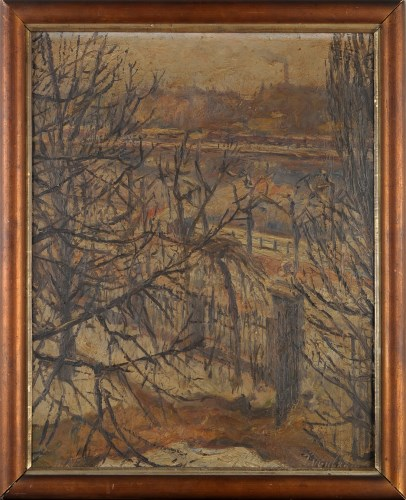 Lot 276-Jakob Nussbaum WINTER CITYSCAPE WITH A VIEW...