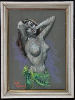 Lot 1320-Betty Raphael A female nude study, signed,...