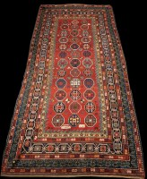 Lot 819 - A Caucasian carpet, the field set with...