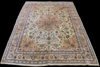 Lot 843 - A Kashan carpet, the central medallion and...