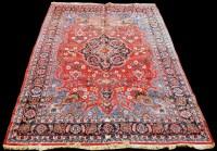 Lot 849 - A Tabriz carpet, the central floral medallion...
