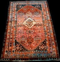 Lot 893 - A Qashqai rug, with central diamond-shaped...