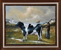 Lot 32 - Brian J. Gordon ''Man with black and white cow'...