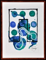 Lot 59 - M** F** Untitled (Abstract in viridian and...