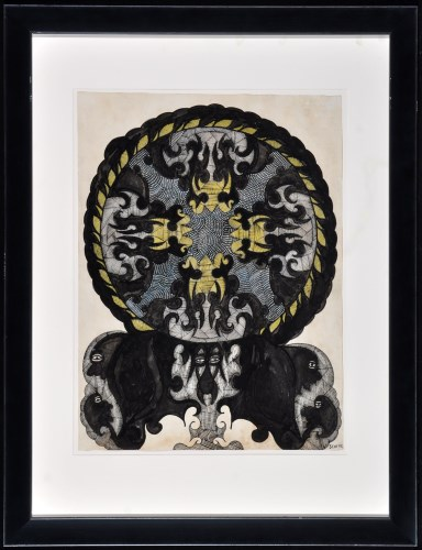 Lot 186-Scottie Wilson ''No. 67'' Ink and watercolour...