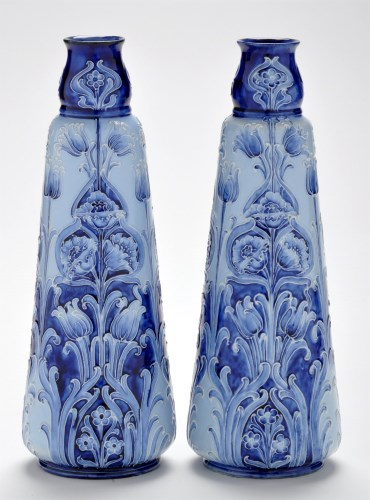 Lot 407-Pair of Moorcroft Florian ware inverted...