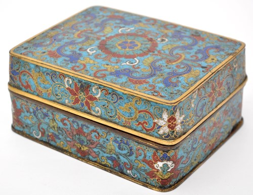 Lot 565-Chinese cloisonne rectangular box and...