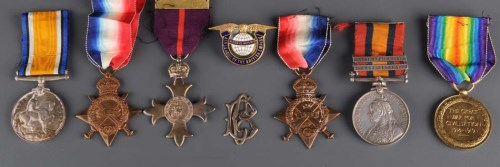 Lot 1087-A group of Boer War and Great War medals and a...