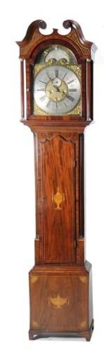 Lot 1271-An inlaid mahogany longcase clock, the brass dial ...