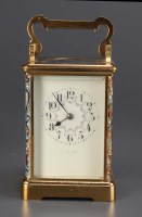 Lot 1279-A French brass and cloisonne carriage clock,...