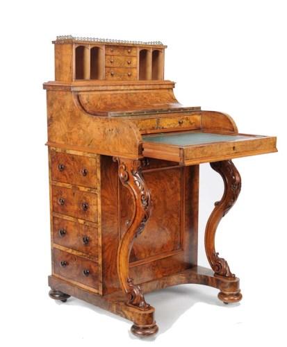 Lot 1305-A fine Victorian burr walnut Davenport, with...