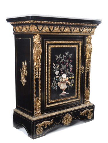 Lot 1450-A fine 19th Century French ebonised and pietra...