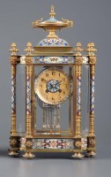 Lot 948-A French gilt metal and cloisonne mantel clock,...