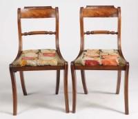 Lot 1052-A pair of Regency mahogany dining chairs, plain...