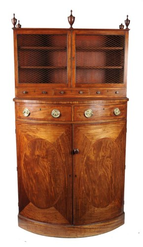 Lot 1096-A Georgian mahogany bowfront cupboard with raised ...