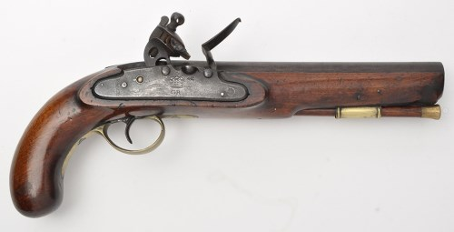 Lot 347-A large early 19th Century flintlock pistol, by...
