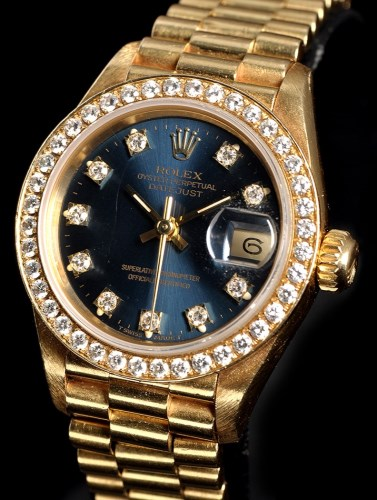 Lot 846-Rolex Oyster Perpetual Datejust: a lady's 18k...