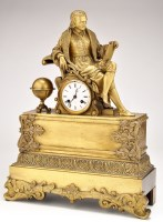 Lot 1133-A French gilt bronze mantel clock, with...