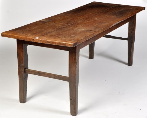 Lot 1144-A 19th Century elm table, the plank top raised on ...