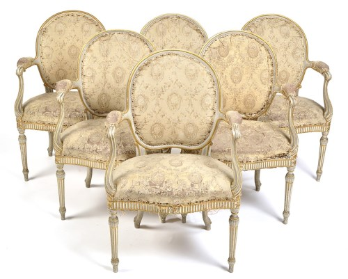 Lot 1152 - An important set of six Chippendale period...