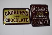 Lot 2 - Two 'Cadburys Pure Chocolate' glass...