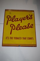 Lot 8 - 'Players Tobacco and Cigarette' enamel...