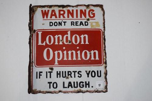 Lot 17-'London Opinion Magazine' enamel advertising sign,...