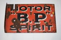 Lot 23 - 'Motor B.P. Spirit' enamel advertising sign,...