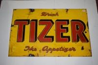 Lot 27-'Tizer' enamel advertising sign, inscribed...