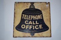 Lot 28-'Telephone Call Office' enamel display sign,...