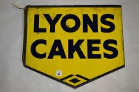 Lot 37 - 'Lyons Cakes' enamel advertising sign, 45 x...