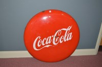 Lot 39-'Coca-Cola' enamel advertising sign, of...