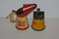Lot 98 - Two Shell tin oil cans, one pint sized for...