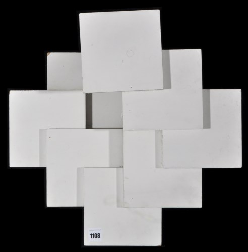 Lot 1108-Peter Lowe - ''Squares'', painted wood...